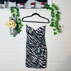 🌼3/$30🌼Dots Strapless Zebra Print Dress Medium